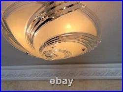 126b Vintage arT Deco Ceiling Light Glass Shade Lamp Fixture antique