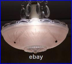 157b Vintage antique arT Deco Glass Shade Ceiling Light Lamp Fixture Chandelier