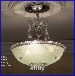 159b Vintage antique arT Deco Ceiling Light Lamp Fixture Jadeite Hall Bath Entry