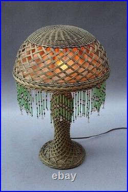 1910 Antique Arts & Crafts Wicker Table Lamp Vintage Light Craftsman (9875)