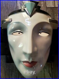 1985 Vintage Art Deco Vandor Designs Shadow Face Mask Wall Sconce Lamp Pelzman