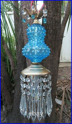 1 Vintage Swag brass tole Fenton Art Glass Crystal Lamp prism aqua blue hobnail