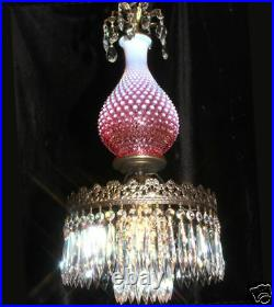 1o3 Fenton hanging Cranberry brass plt art Glass Crystal Lamp Chandelier Vintage