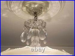 218 Vintage arT DEco Ceiling Glass Light Lamp Fixture Chandelier pink 3 light