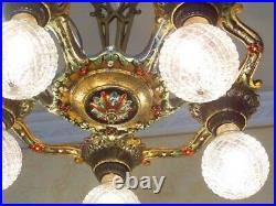 254b Vintage Antique 20s Ceiling Light lamp fixture chandelier art nouveau