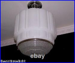 272 Vintage aRT DEco 30's Ceiling Light Lamp Fixture Glass JUMBO SIZE 1 of 8