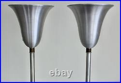 2 Russel Wright Art Deco Vtg Mid Century Modern Aluminum Torchiere Floor Lamp
