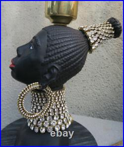 2 Vintage Jeweled Art Deco NUBIAN African Queen blackamoor Lamp Spelter Brass