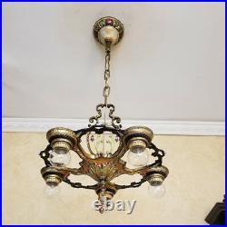 356b Vintage Antique 30s Ceiling Light lamp polychrome chandelier art nouveau
