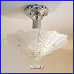 389b Vintage arT Deco Ceiling Light Lamp Fixture Glass Re-Wired