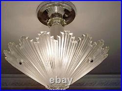 409b Vintage arT Deco Ceiling Light Lamp Fixture Glass Shade chandelier ReWired