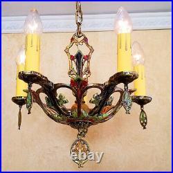 581b Vintage 30's Antique Ceiling Light lamp art nouveau polychrome chandelier