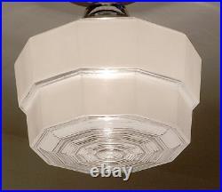 711 Vintage antique art deco Ceiling Light Glass Shade Lamp Fixture bath hall