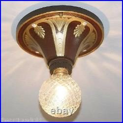 742 Vintage 20s 30s Ceiling Light Lamp fixture art nouveau polychrome 1 0f 5