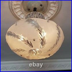 783b Vintage antique arT Deco Glass Shade Ceiling Light Lamp Fixture Chandelier