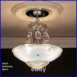 790b Vintage antique arT Deco Glass Shade Ceiling Light Lamp Fixture Chandelier