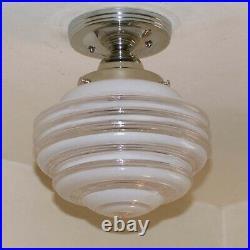 838 Vintage Antique arT Deco Ceiling Light Lamp Chrome Fixture Glass Hall Bath