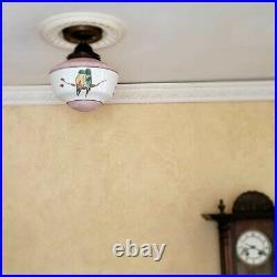 878b Vintage antique aRT Deco Ceiling Light Glass Shade Lamp Fixture bath hall
