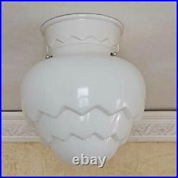 879b Vintage antique aRT DEco Ceiling Light Lamp Fixture Glass Shade Artichoke