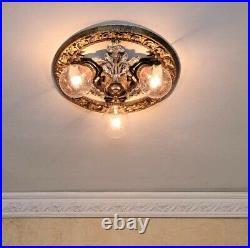 886b Vintage antique 30s Ceiling Light lamp fixture art nouveau chandelier