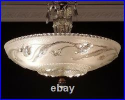 929 Vintage antique arT DEco Ceiling Light Lamp Fixture Chandelier 1 of 2