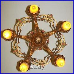 933 Vintage aNtique 30s art nouveau Ceiling Light Lamp Fixture Chandelier