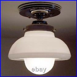 944 Vintage Antique arT Deco Ceiling Light Lamp Chrome Fixture Glass Hall Bath