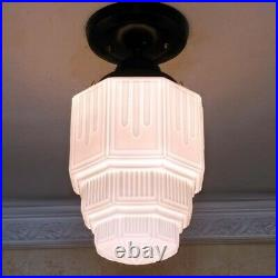 966b Vintage antique aRT DEco Ceiling Light Glass Lamp Fixture HALL BATHroom