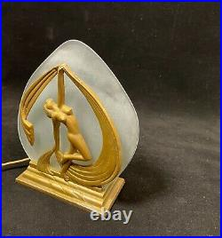 ART DECO Figural Nude Dancer Boudoir Lamp Night Light Gold Gilding 7 1/4