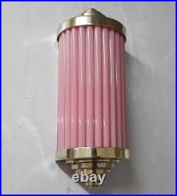 Antique Old Vintage Art Deco Brass & Pink Glass Rod Ship Light Wall Sconces Lamp