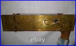 Antique Vintage Art Deco Brass & Milk Glass Rod Light Fixture Wall Sconces Lamp