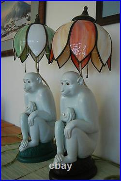 Antique Vintage Chinese Arts Crafts Art Deco Whimsical Monkey Porcelain MCM Lamp