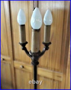 Antique Vintage Victorian Art Nouveau Floor Lamp, cast Iron & Brass, Very Ornate