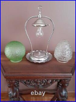 Antique/Vtg 1920s 30s Chrome Art Deco Table/Desk Accent Light Lamp, Green/Clear