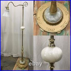 Antique Vtg Art Deco Egyptian Floor Bridge Lamp Agate Stone, Glass Shade, Brass