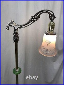Antique Vtg Art Deco Nouveau Victorian Bridge Floor Lamp Houze Green Glass Brass