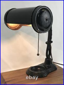 Antique Vtg Desk Lamp Industrial Era Banker Black Cast Iron Steampunk Art Deco