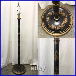 Antique Vtg Farmhouse WOOD Floor Lamp Victorian Art Deco Black Gold Painted Vine