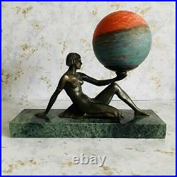 Art Deco Vintage Nude Lady Spelter Statue Lamp French Pate de Verre Globe Shade