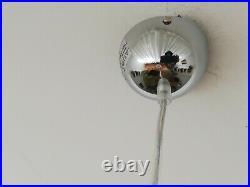 Art Deco pink ribbed glass and chrome pendant ceiling light lamp 1940s 40s VTG