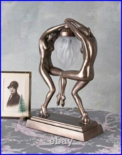 Art Deco table lamp dancings ladies vintage lamp naked dancers woman sculpture