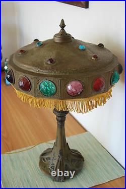 Art Nouveau Deco Antique Old Jeweled Glass Arts And Crafts Vintage Table Lamp