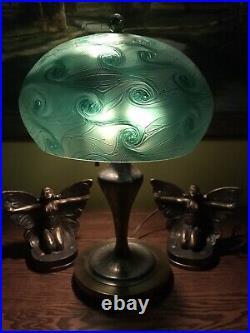 Arts Crafts Vintage Antique Art Glass Pairpoint Lamp Bradley Hubbard Handel Era
