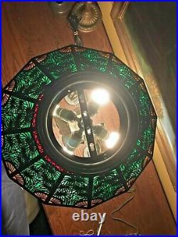 Bradley Hubbard Leaded Slag Glass Antique Vintage Arts Crafts Lamp Handel Era