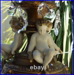 Cherub Chandelier lamp vintage SWAG Shabby Spelter Brass Art Nouveau French Stle