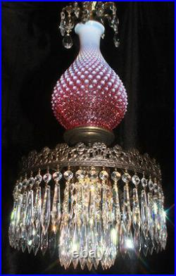 Fenton hanging SWAG Cranberry art Glass Crystal Lamp Chandelier Vintage