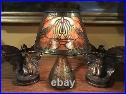 Heintz Arts Crafts Mission Antique Vintage Mica Handel Bradley Hubbard Era Lamp