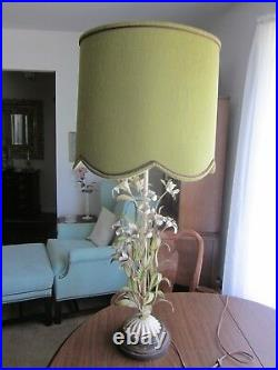 Italy Italian Tole Toleware Art Lamp Antique White Metal Flowers Green VINTAGE