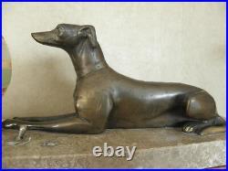 LAMP ART DECO table figurine desck vintage french marble light Licht bronze dog