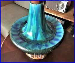 Large Vintage MCM Glazed Ceramic Art Pottery Iconic Blue Green Lamp